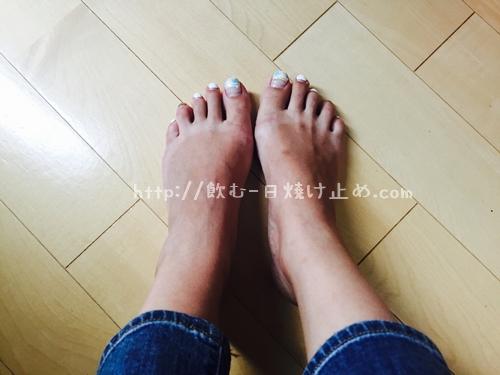 日焼けした足の写真